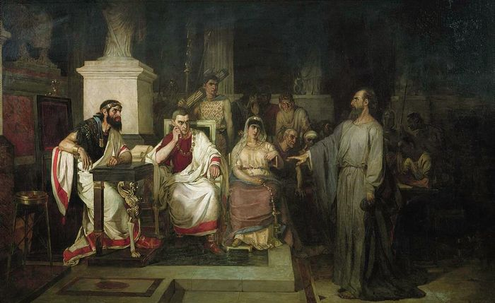 Апостол Павел объясняет догматы веры царю Агриппе. Суриков В.И. 1875 год.