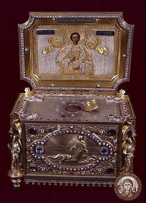 Мощи св. влкмч. Пантелеимона в Русском монастыре на Афоне