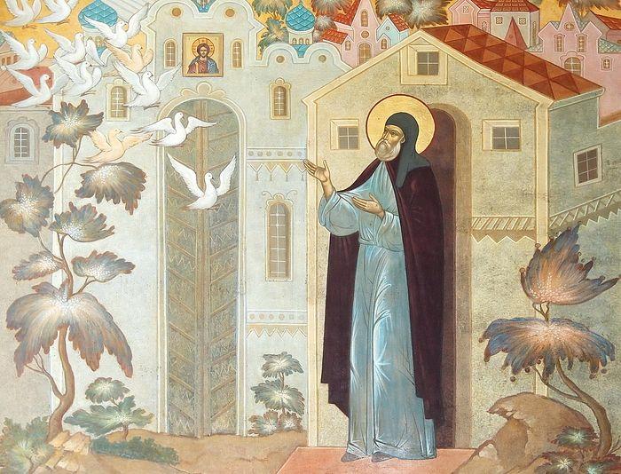 Чудесное явление множества птиц у келии преподобного Сергия. Роспись Святых врат Троице-Сергиевой Лавры