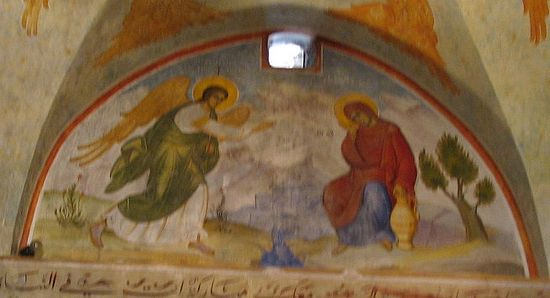 A section in the wall painting in St Gabriel Church, with an illustration of the Annunciation