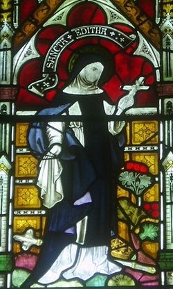 A stained glass image of St. Edith at Polesworth abbey church (taken from Warwickshirechurches.weebly.com)