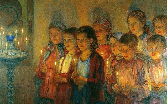 Н.П. Богданов-Бельский. В церкви. 1939 г.
