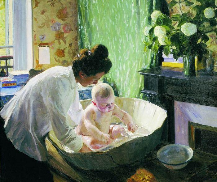 Б. Кустодиев. Юлия Евстафьевна Кустодиева, жена художника, с сыном-первенцем Кириллом