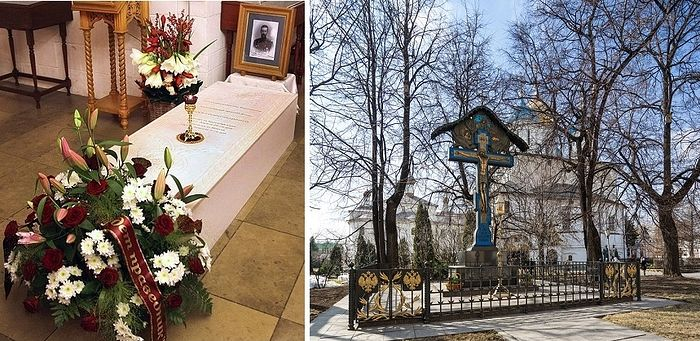 The final resting place of Grand Duke Sergei Alexandrovich and replica of Vasnetsov's memorial cross at the Novospassky Monastery in Moscow.