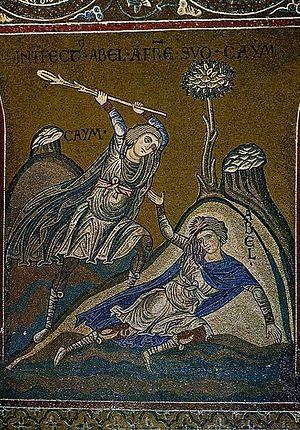 Каин убивает Авеля. Фреска собора Монреале, Сицилия
