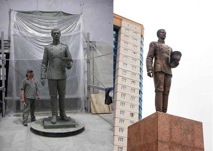 In his studio, sculptor Konstantin Zinich puts the finishing touches on his sculpture of Tsesarevich Nicholas Alexandrovich (left); the finished monument now stands on Cossack Square in the Russian City of Chita (right)