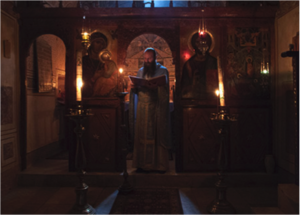 Sinai monks liturgize at the Dormition of the Theotokos in the chapel dedicated to the Feast, located in the 4th century tower built by Saint Helena.