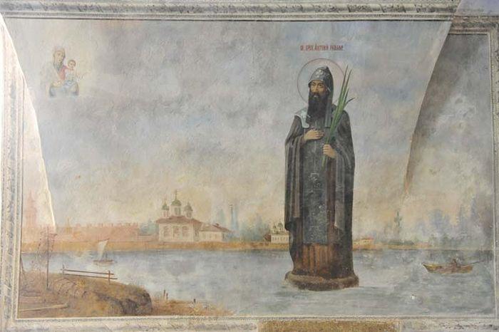 Преподобный Антоний Римлянин. Фреска Антониева монастыря, Великий Новгород
