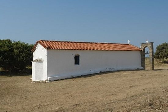 The chapel of Our Lady of the Harvest in the Dependency of the Monastery of Simonos Petras, Propouli (1706, on the site of a Byzantine chapel)