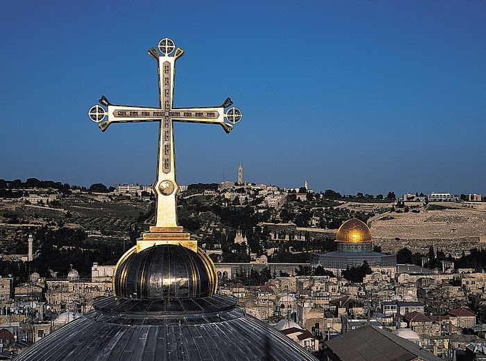 The Golgotha Crucifix atop the Church of the Holy Sepulchre in Jerusalem