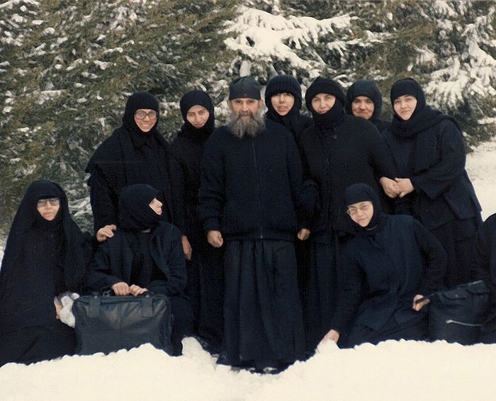 Elder Ephraim with sisters in North America
