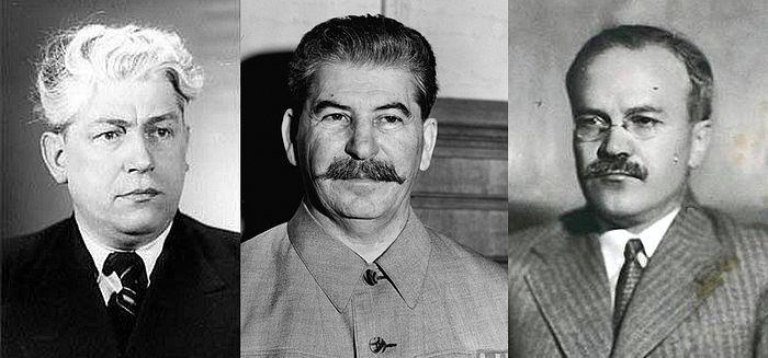Участники встречи со стороны руководства СССР: Г.Г. Карпов, И.В. Сталин, В.М. Молотов