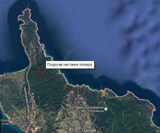 На карте прямоугольником отмечено место, где начался пожар