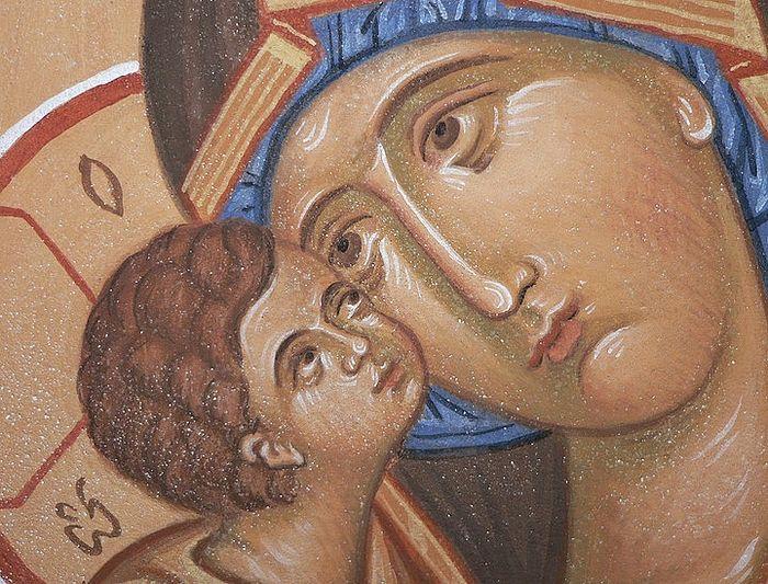 Фрагмент Владимирской иконы Божией Матери. Иконописец: Борис Норштейн