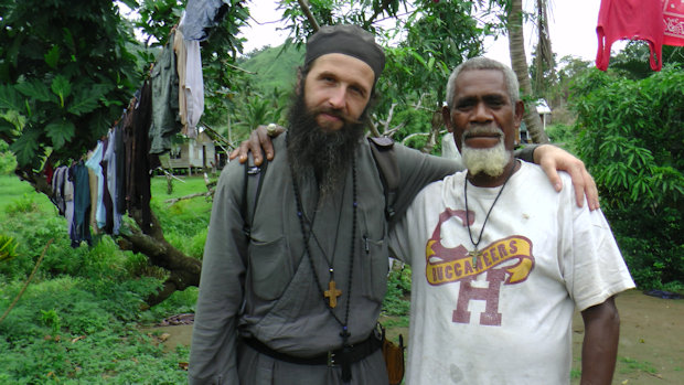 Father Meletios of the Holy Archangels Monastery Levin, New Zealand with local man.
