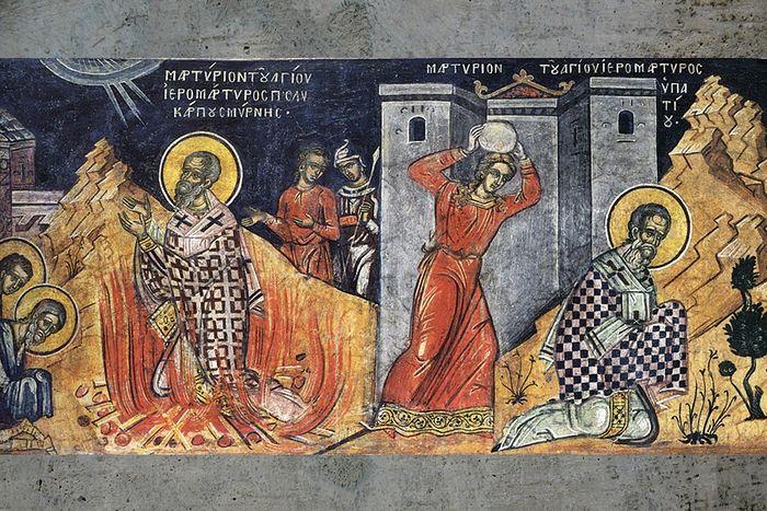 Мучения святых Поликарпа Смирнского и Ипатия Гангрского