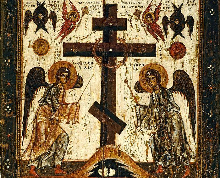 Восьмиконечный крест на иконе «Прославление креста» (оборот иконы Спас Нерукотворный, XII век)