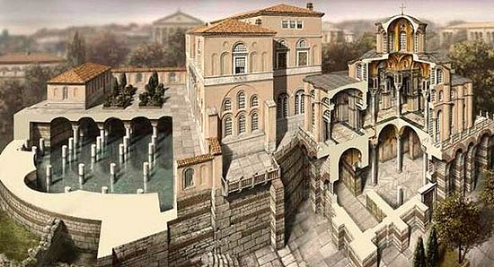 Depiction of Emperor Romanos Lekapenos' Palace and of Myrelaion Monastery's main church