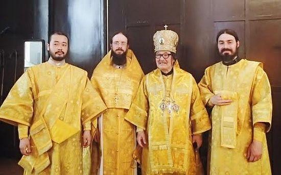 "Divine Liturgy at Tokyo's ""Nikolai-Do""—from left, Deacon Iliya Toru, Archimandrite Sergius, Metropolitan Daniel, and Hierodeacon Maximus."