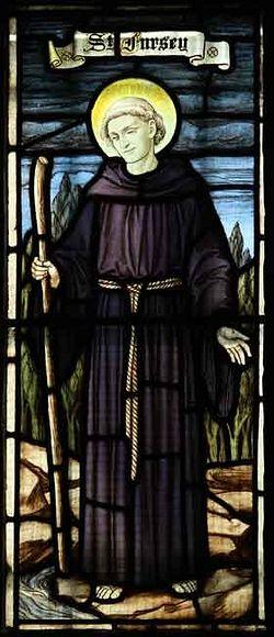 Витраж с изображением св. Фурсея в одной из церквей Нориджа, Норфолк