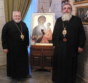 Bishop Paul and Bishop Mstislav with reproduction of the Tikhvin Icon, July 2016.