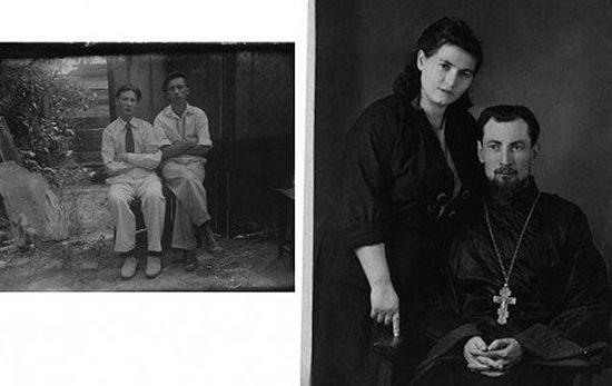 Отец Всеволод в молодости. На фото справа — до священства, с другом (справа); на фото слева — с матушкой