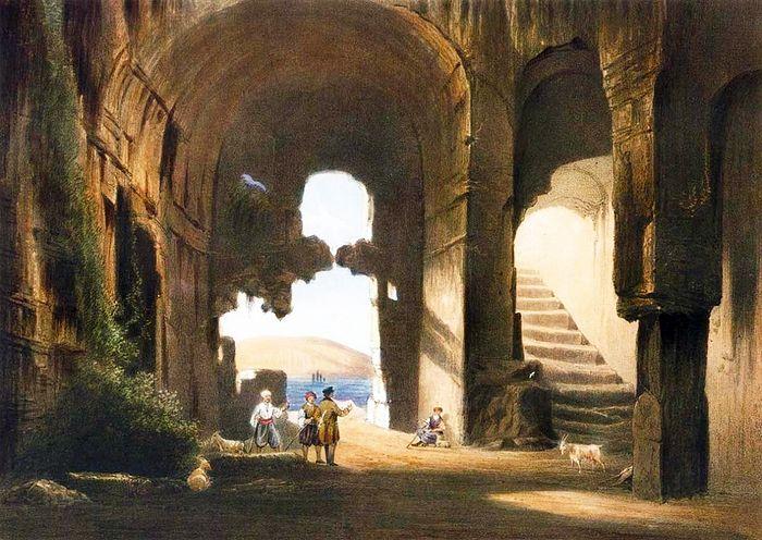 На литографии «Интерьер раннехристианской церкви» Боссоли изображает церковь Св. Климента, вырубленную в Инкерманских скалах