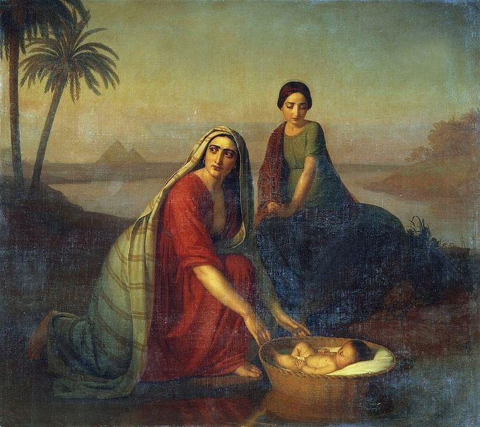 А. Тыранов. Моисей, опускаемый матерью на воды Нила. 1839–1842 гг. Государственная Третьяковская галерея