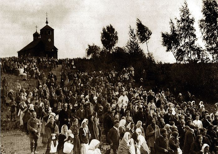 Крестный ход на источник в праздник Успения Божией Матери 1889 г.