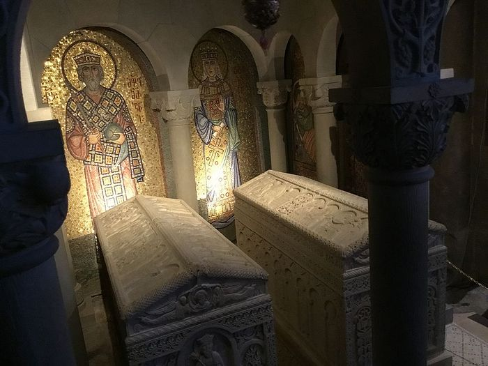 The tombs of revered kings and queens of Georgia in the catholicon of the Holy Samtavro Monastery, Mtskheta, Georgia