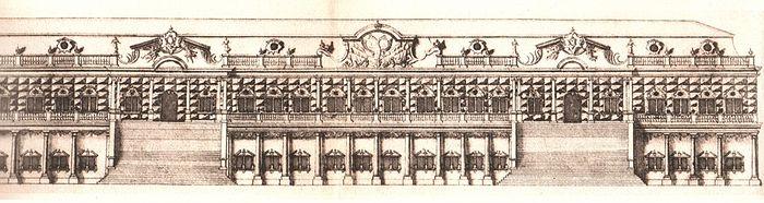 Царские чертоги, где ныне находится Академия, чертеж 1745 года