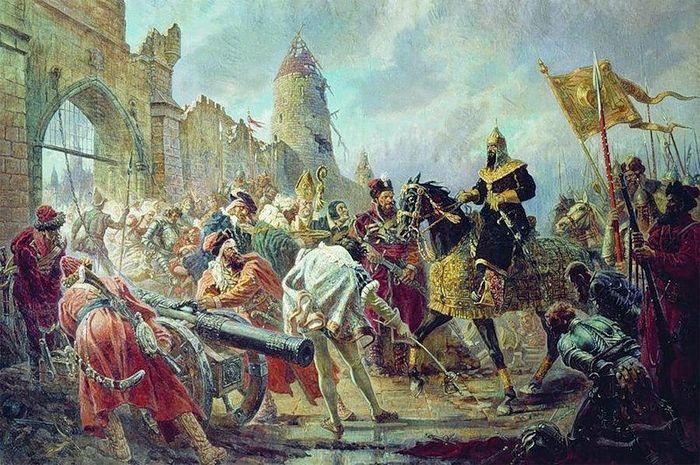 П. Соколов-Скаля. Взятие войсками Ивана Грозного ливонской крепости Кокенгаузен