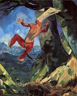 «Смерть Авессалома». Картина Альберта Вайсгербера