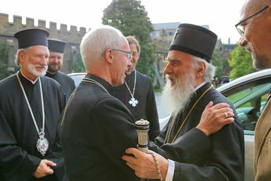 The Archbishop of Canterbury Justin Welby welcomes Patriarch Irinej to Lambeth Palace. Photo Credit: Lambeth Palace