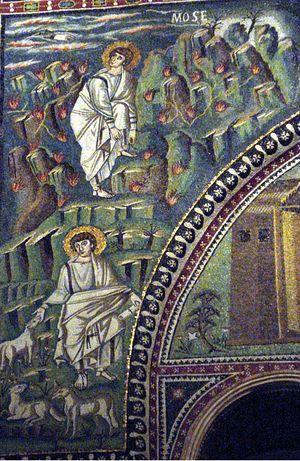 Моисей пасет стада Иофора и Неопалимая Купина. Мозаика. VI в. Базилика Сан-Витале, Равенна