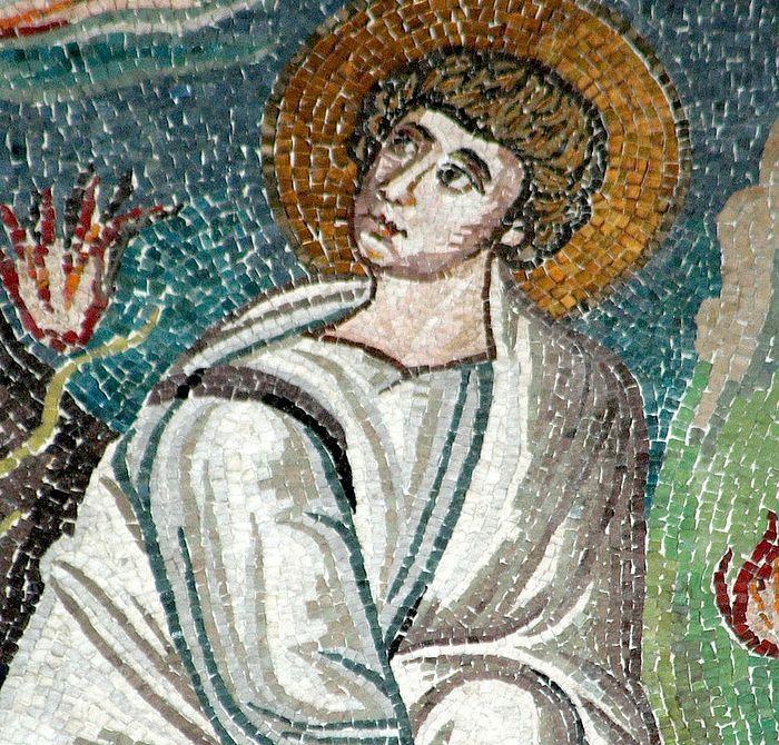 Моисей видит Неопалимую Купину. Фрагмент мозаики. VI в. Базилика Сан-Витале, Равенна