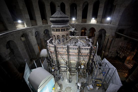 Steel girders supporting the Edicule will be removed when restoration work is completed next Spring. PHOTOGRAPH BY ODED BALILTY, AP FOR NATIONAL GEOGRAPHIC