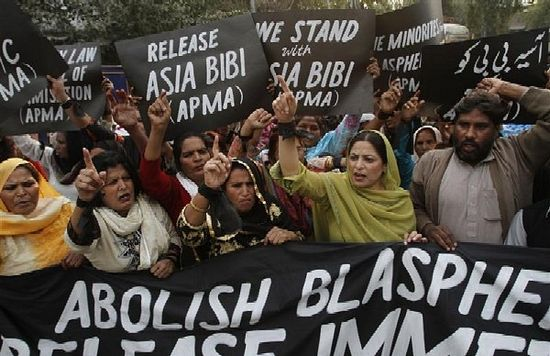 Protesters demand release of Asia Bibi, in Lahore, Pakistan, November 21, 2010. (PHOTO: MOHSIN RAZA)