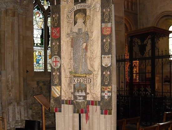 Banners of St. Frideswide inside Christ Church Cathedral, Oxford (photo by Irina Lapa)