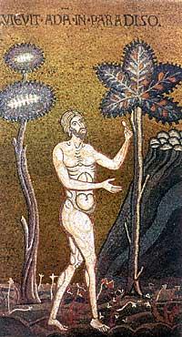Адам в Раю. Византийская мозаика