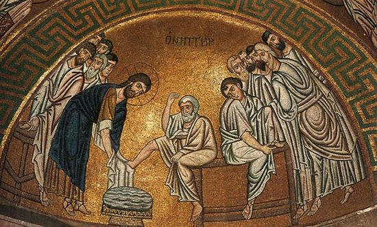 Омовение ног апостолам. Византийская мозаика начале 11 века. Греция. Монастырь Осиос Лукас