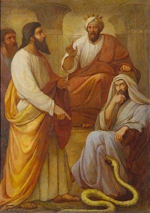 Моисей и Аарон перед фараоном. Э.Плюшар. 1840-е Роспись аттика северо-западной части Исаакиевского собора.