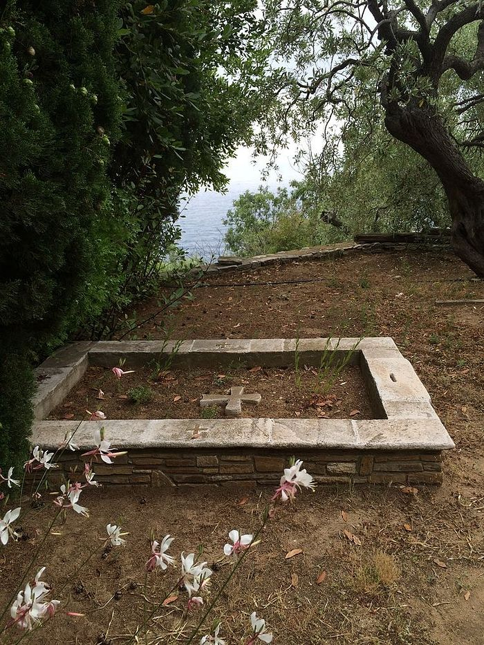 Gerontissa Theophano's grave at the cemetery. There is no cross on it because her relics have already been removed.