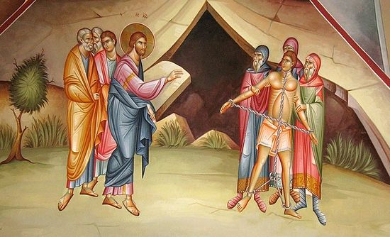 Christ heals the Gadarene demonaic. Fresco in the church on Mt. Tabor. Photo: Anton Pospelov/Pravoslavie.ru
