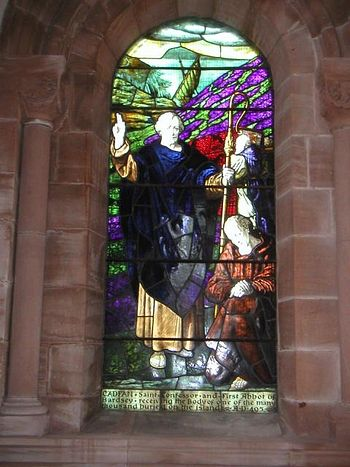 A stained glass image of St. Cadfan (source - Stainedglass.llgc.org.uk)