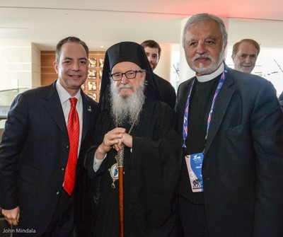 Reince Priebus (left) with Abp. Demetrios (center)