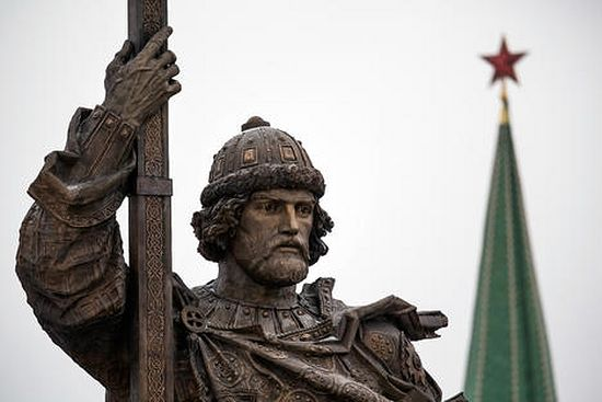 A monument to Vladimir the Great is unveiled on National Unity Day, outside the Kremlin in Moscow, Russia Source: AP