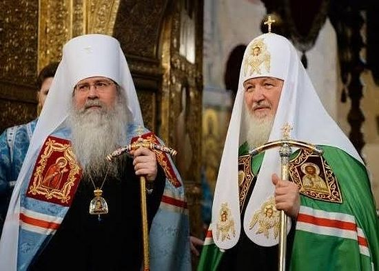 Metropolitan Tikhon with Patriarch Kirill, Moscow, December 2014. Photo: https://oca.org/