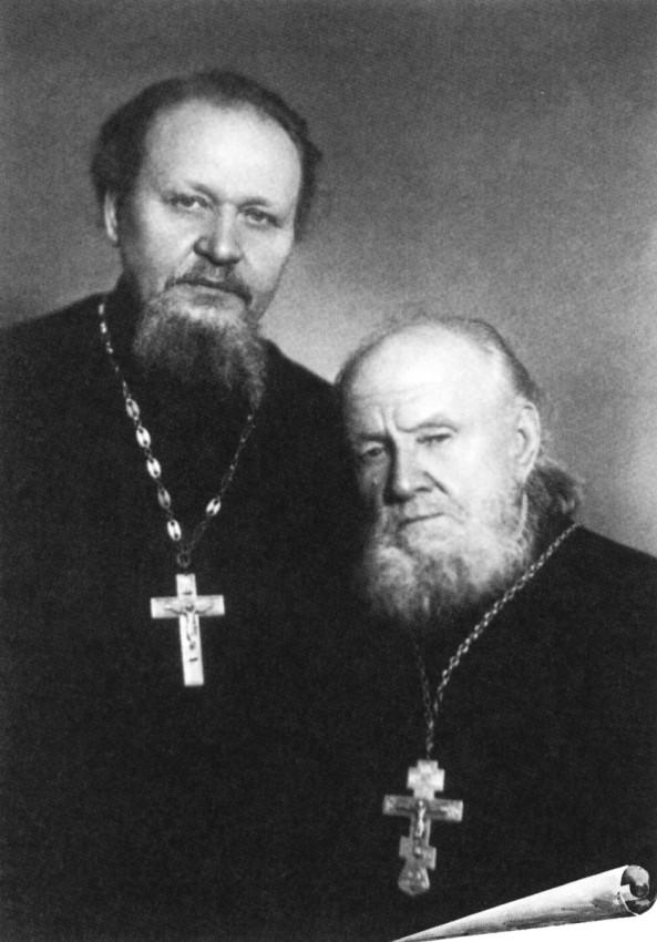 His Holiness Patriarch Kirill's 70th birthday.  Fr. Vasily Gundyaev and Archpriest Michael Gundyaev. 1960s.