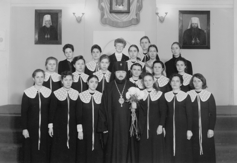 His Holiness Patriarch Kirill's 70th birthday.  With alumni of the music department. Leningrad. 1970s.